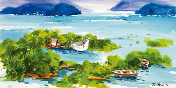 【色彩新闻】孙少英日月潭水彩画展,83岁埔里画家,用水彩写游记,台中