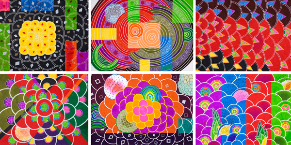 曾雍甯,《Beautiful Future 02》部份截图,原子笔、纸,75x107cm,2012 「采意」是颜色形态多样,很多种形状和颜色符旨;曾雍甯2013新作个展,延续先前光鲜亮丽花园的绽放和原生律动系列,如诉说着自然法则,交叠个体间展现原生植物旺盛的生命力和张力,除建筑一个饱满空间,也在寻求生命存在转化的多重符徵和特性。