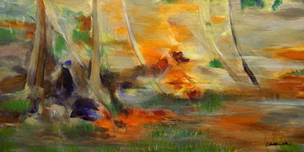 佛教印象派水彩笔抽象画-佛教印象派
