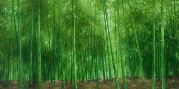 油画竹林图片风景图片