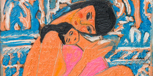 选择使用手指蘸取压克力颜料作画,她的创作主题多取材自生活周遭,尤其图片